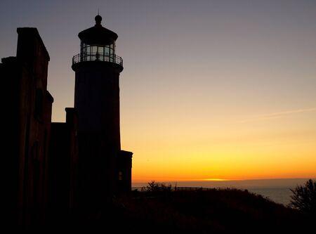Lighthouse on the Washington Coast at Sunset photo