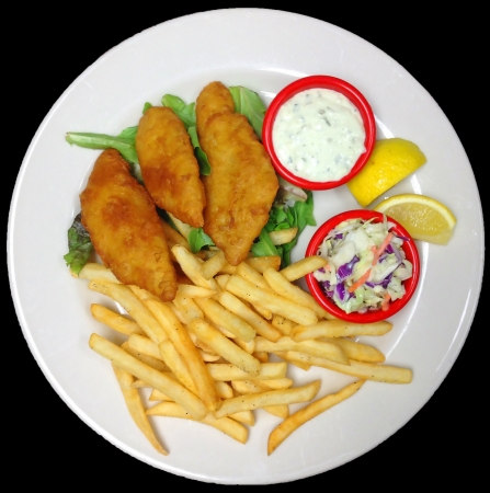 A Plate of Battered Fried Fish Fillets with French Fries, Tartar Sauce and Cole Slaw photo