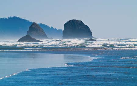arcadia: Rugged Rocky Arcadia Beach on the Oregon Coast Stock Photo