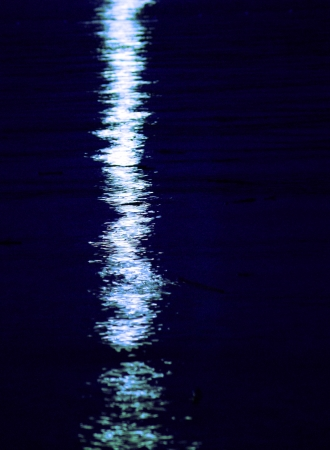 Moon light reflection on calm but rippled water photo