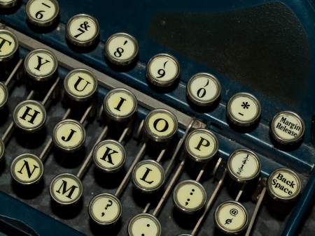 Closeup of a Old, Manual Typewriter Keyboard