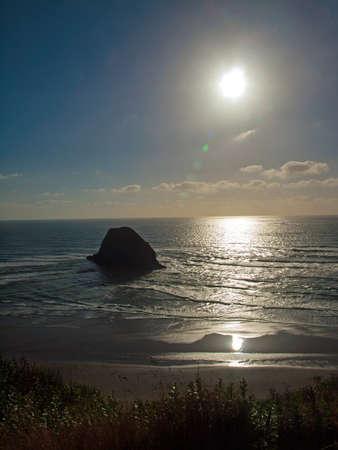 Rugged Rocky Beach on the Oregon Coast Overlook at Sundown