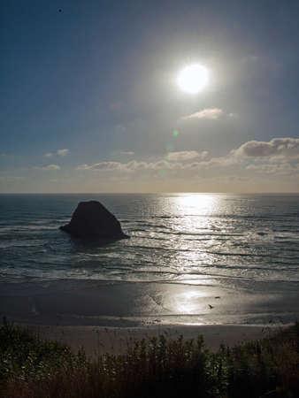 Rugged Rocky Beach on the Oregon Coast Overlook at Sundown photo