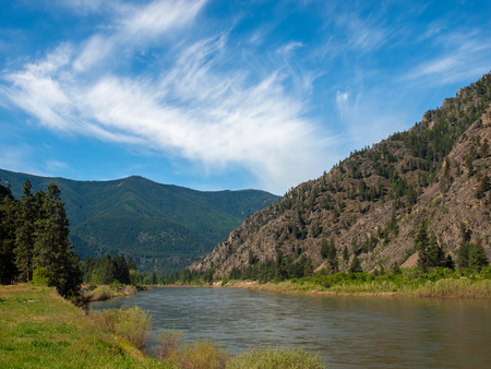 Wide Mountain River Cuts a Valley - Clark Fork River Montana USA photo