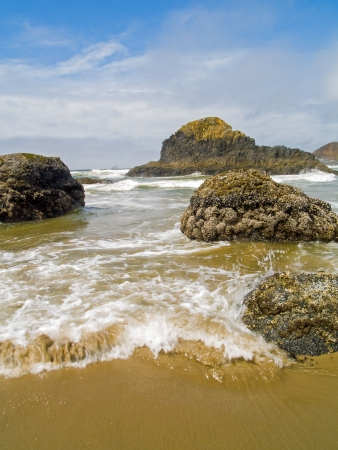 High Tide Coming in on the Oregon Coast at Ecola Beach photo