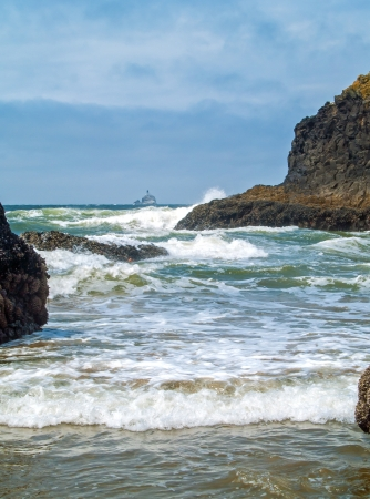 terrible: Offshore lighthouse on the Oregon Coast nicknamed Terrible Tilly