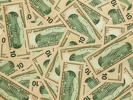 alexander hamilton: Un mucchio di dieci fatture del dollaro come moneta Archivio Fotografico