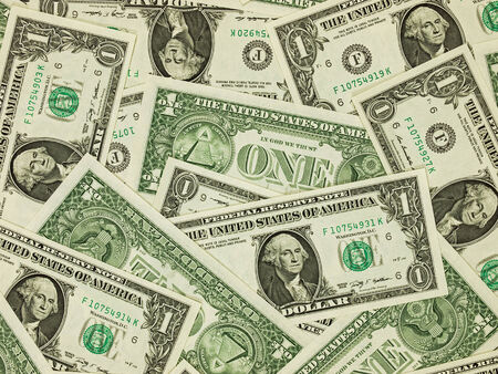 A Pile of One Dollar Bills as a Money  photo