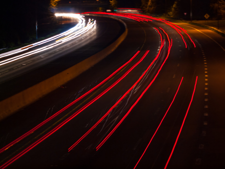 taillight: Headlight and Taillight Trails on a Busy Highway at Night Stock Photo