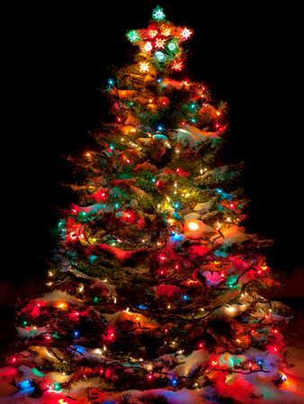 snow covered christmas tree with multi colored lights at night stock photo 33176823