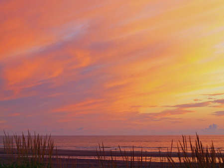 hirtshals: Golden and Pink Cloudy Sunset at the Beach Stock Photo