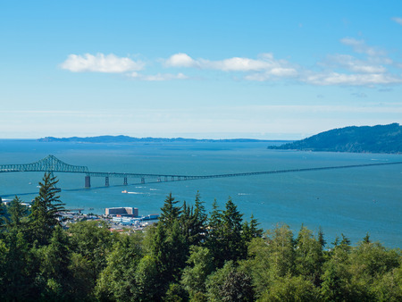 coxcomb: A View of Astoria Oregon from Coxcomb Hill, the Location of the Astoria Column Stock Photo