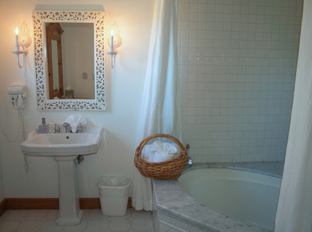 Pretty Bathroom with a Jetted Tub at a BnB