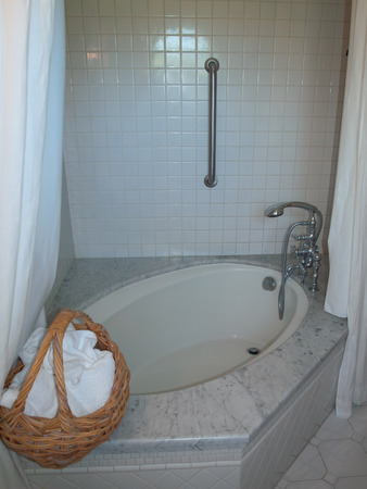 Pretty Bathroom with a Jetted Tub at a BnB photo