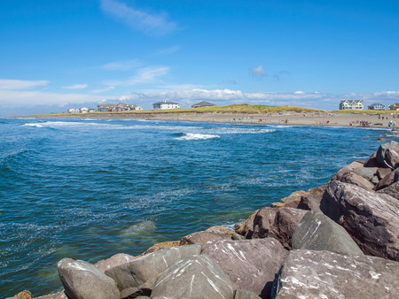 View from the Rock Jetty on a Clear Sunny Day at Ocean Shores Washington USA photo