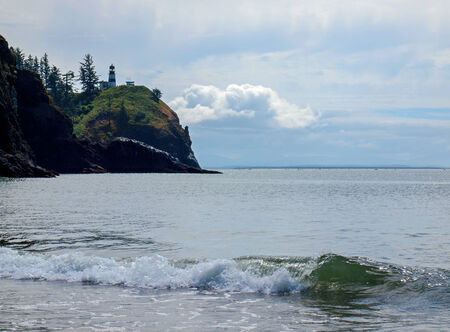 guard house: Cape Disappointment Lighthouse in Fort Canby State Park from Waikiki Beach near Ilwaco Washington USA Stock Photo