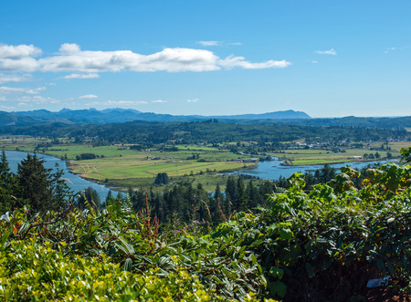 coxcomb: A View of the Astoria Oregon Area from Coxcomb Hill, the Location of the Astoria Column Stock Photo