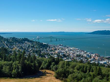 coxcomb: A View of Astoria Oregon from Coxcomb Hill, the Location of the Astoria Column Stock Photo