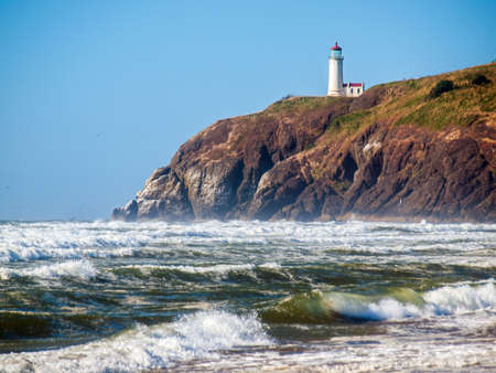 bluff: North Head Lighthouse in Viewed from Benson Beach on the Washington Coast USA