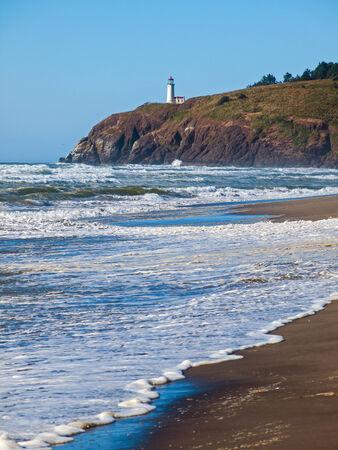 North Head Lighthouse in Viewed from Benson Beach on the Washington Coast USA photo
