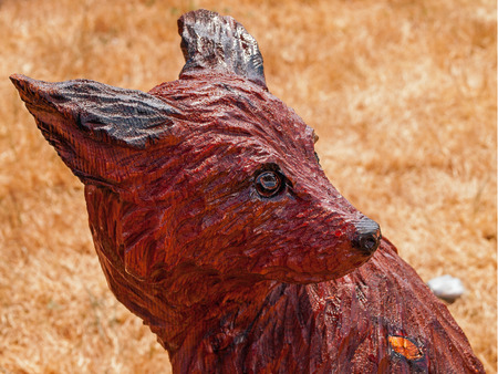 Closeup of a Coyote Head Chainsaw Sculpture Showing Carved and Burned Wood