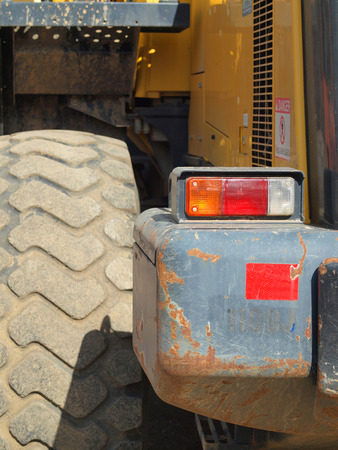 on duty: Closeup Details of Heavy Duty Construction Equipment Stock Photo