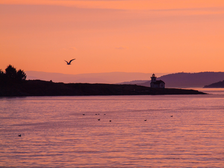 Patos Island Lighthouse in Washington, USA at Dusk