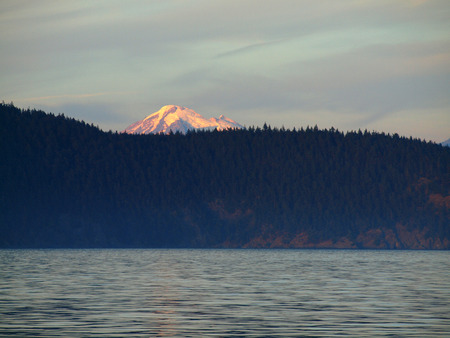 View of Mount Rainier at Sunset from a Boat