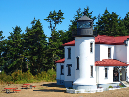 bluff: Adniralty Head Lighthouse on Whidbey Island Washington USA Stock Photo
