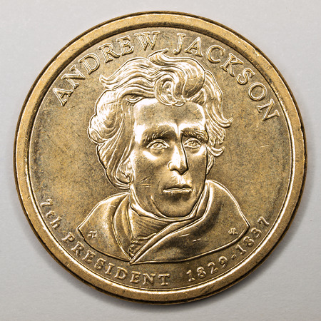 andrew: US Gold Presidential Dollar Featuring Andrew Jackson Stock Photo