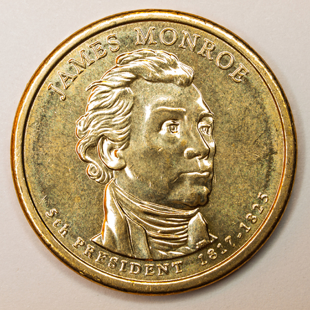 monroe: US Gold Presidential Dollar Featuring James Monroe