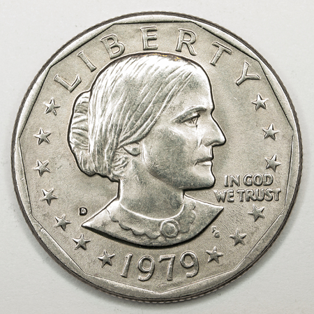 suffrage: US Dollar Silver Coin Featuring Susan B Anthony
