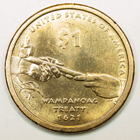 US Gold Dollar Coin Featuring Treaty Wampanoag Stock Photo