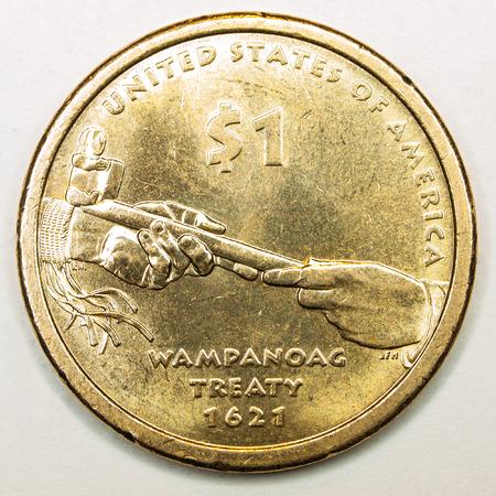 treaty: US Gold Dollar Coin Featuring Treaty Wampanoag Stock Photo