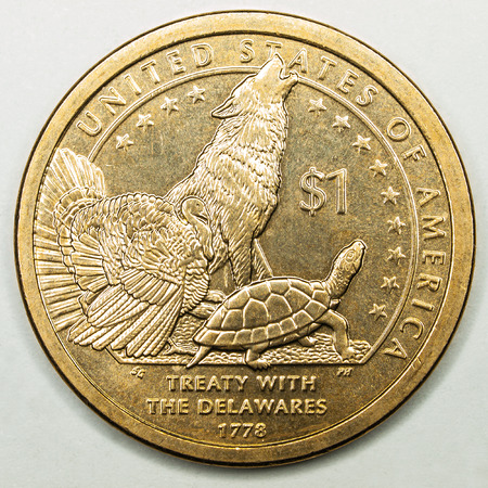 treaty: US Gold Dollar Coin Featuring Treaty withe the Delawares