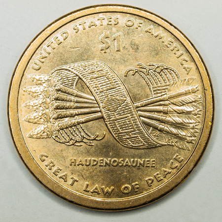 us coin: US Gold Dollar Coin Featuring Great Law of Peace Haudenosaunee