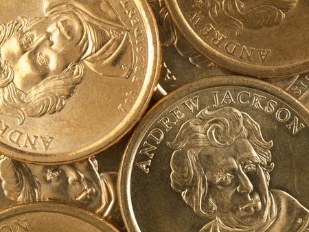 andrew: Pile of US Gold Presidential Dollar Featuring Andrew Jackson