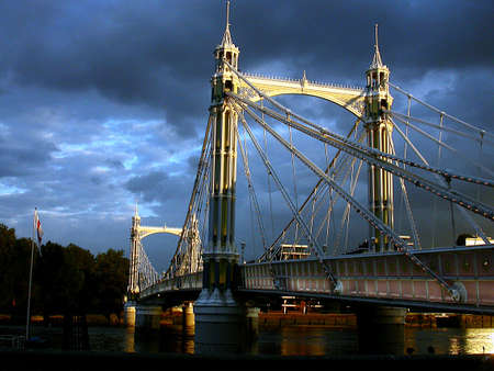 Albert Bridge by Evening Stock Photo