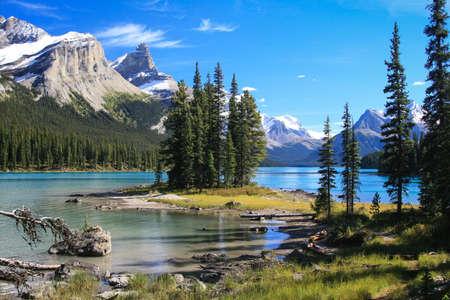 Spirit Island on the Maligne Lake at the Jasper National Park in Canada photo