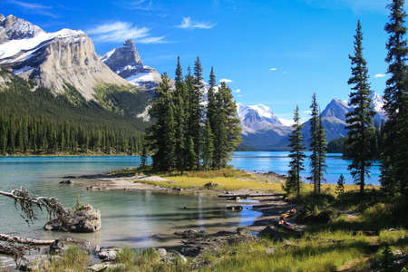 canada: Spirit Island on the Maligne Lake at the Jasper National Park in Canada