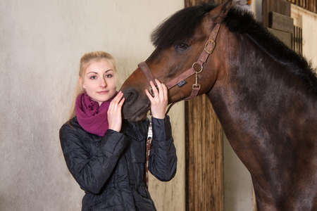 fair haired: Girl holds the head of her brown pony (New-Forest-Pony)