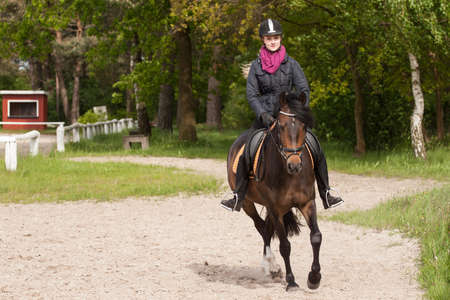 fair haired: Girl rides her brown pony (New-Forest-Pony)