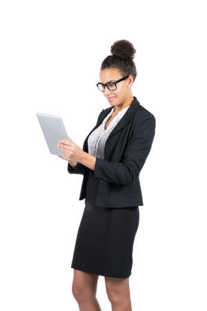 sympathetic: Cut out image of a young beautiful business woman who uses a tablet