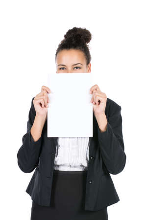 sympathetic: Cut out image of a young business woman who shows a white sheet of paper Stock Photo