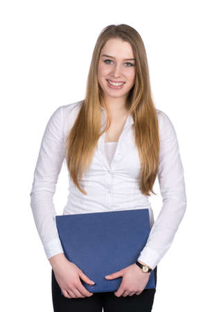 fair haired: Cut out image of a young smiling woman who is holding a blue file