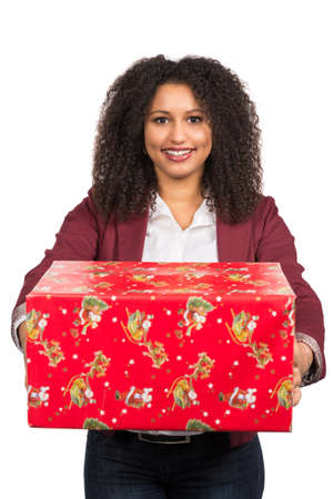 likable: Cut out image of a young woman who is holding a christmas gift