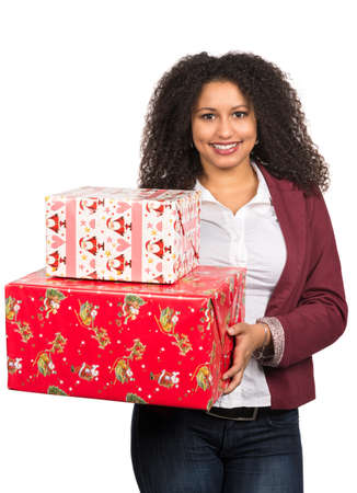 likeable: Cut out image of a young woman who is holding christmas presents.