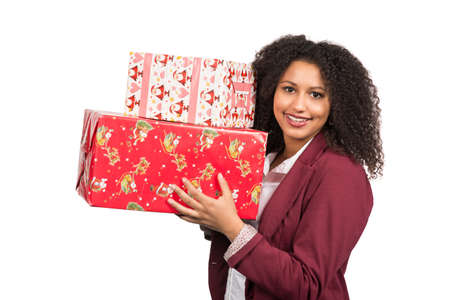 likable: Cut out image of a young woman who is holding christmas presents.