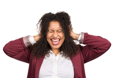likeable: Cut out image of a young smiling woman with brown curly hair (afro) who is crying while covering her ears with her hands.