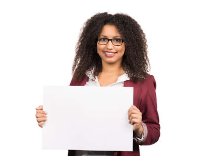 likeable: Cut out image of a young woman with brown curly hair (afro) and glasses who is holding a white empty sheet of paper.